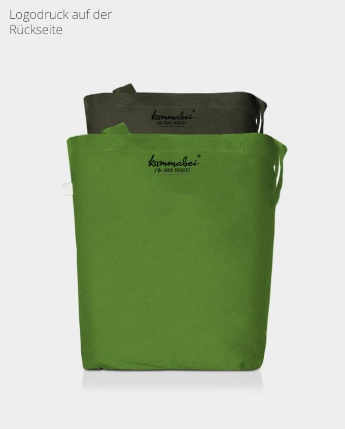 Jutebeutel Stoffbeutel Rückseite moosgrün und grasgrün Kommabei Onlineshop