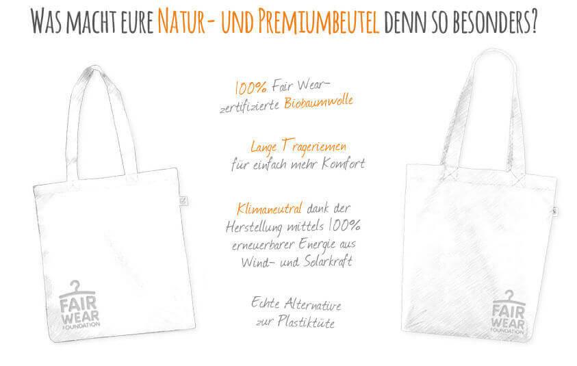 Kommabei Onlineshop Jutebeutel und Stofftaschen