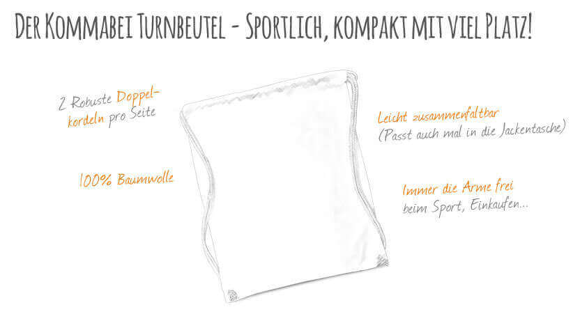 Kommabei Onlineshop Turnbeutel und Sporttaschen