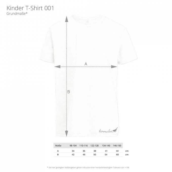 Kommabei Kinder T-Shirt Maßangaben