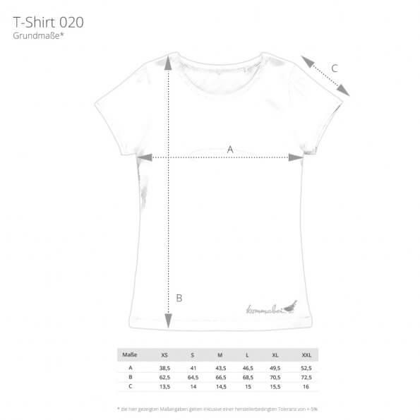 Ansicht Maßangaben T-Shirt Ladies Kommabei