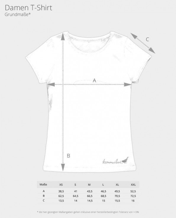 Damen T-Shirt Skizze und Maße Kommabei Shop