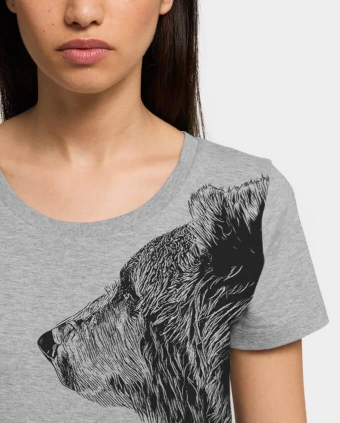 Damen T-Shirt Bruder Bär Detail Kommabei