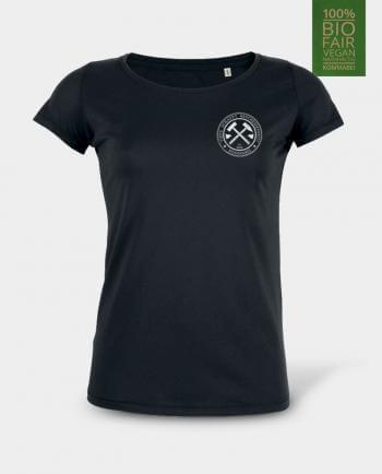 Damen T-Shirt Tiefe schafft Bescheidenheit Herzdruck schwarz Kommabei