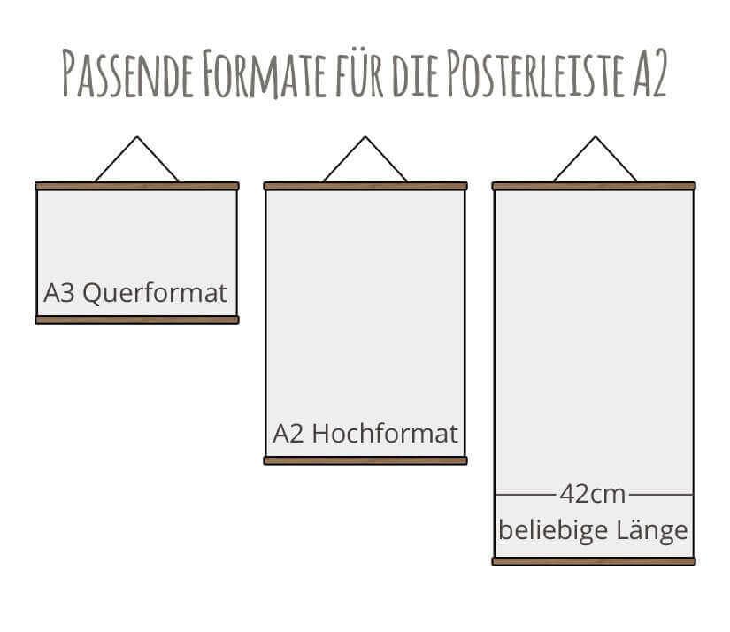 Posterleiste / Bilderleiste A2 Formate Kommabei Shop