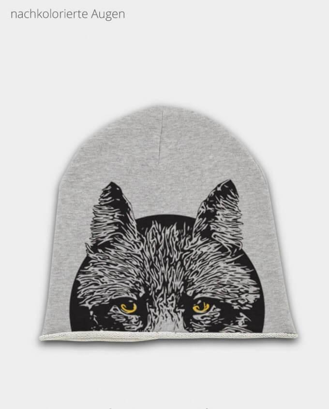 Beanie Grau Fuchs Wolf kolorierte Augen