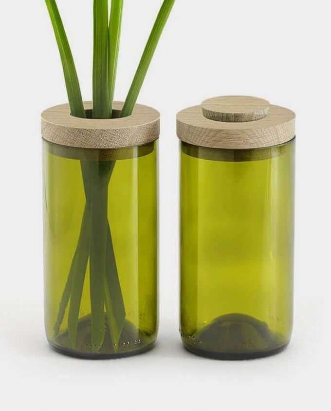 side by side vase dose grün detail