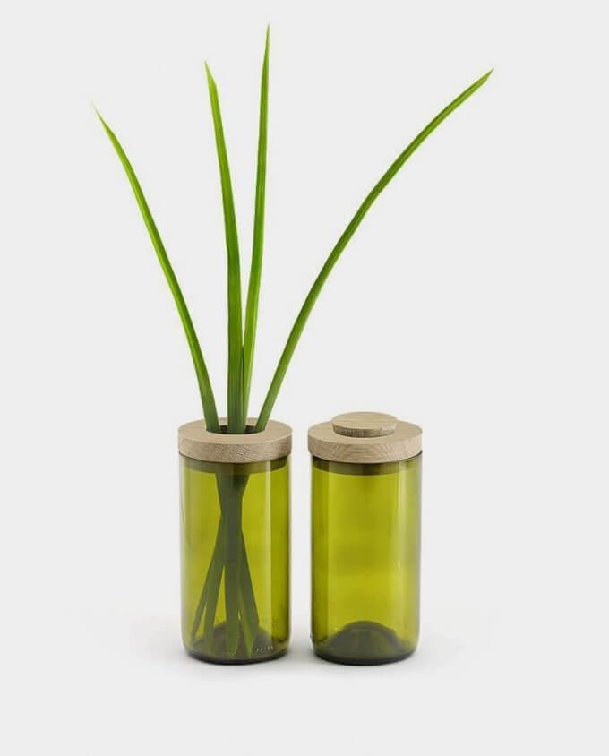 side by side Vase und Dose Grünglas kommabei Onlineshop