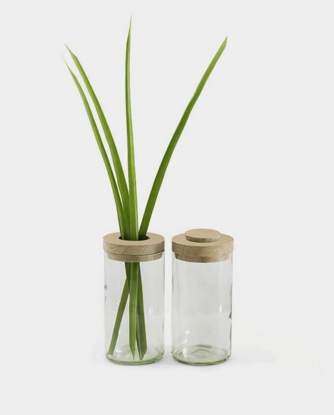 side by side Vase und Dose Klarglas kommabei Onlineshop