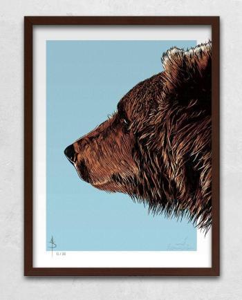 Poster Kunstdruck Bruder Bär mit Bilderrahmen Braun im Kommabei Shop
