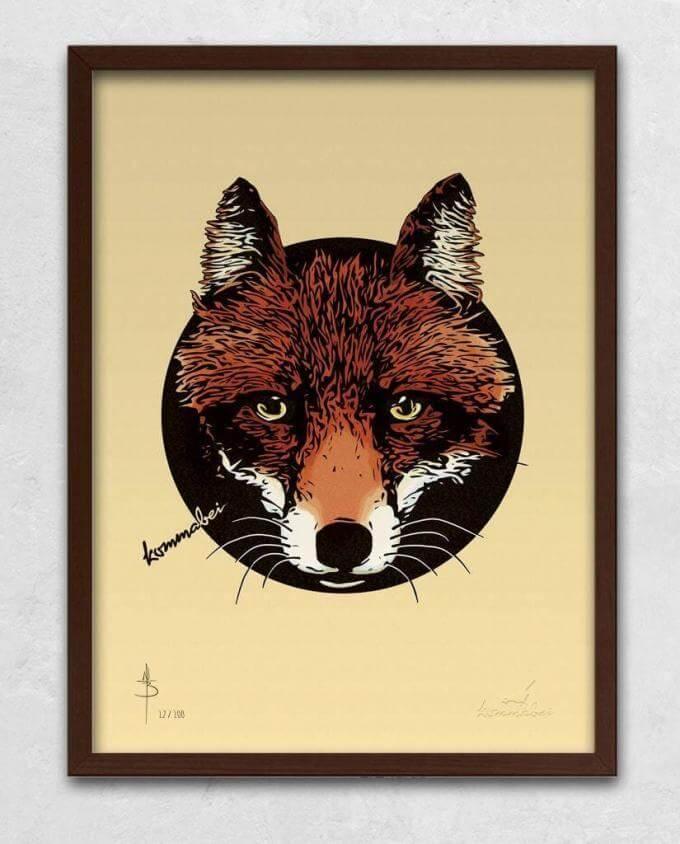 Poster Kunstdruck Reineke Fuchs mit Bilderrahmen Braun im Kommabei Shop