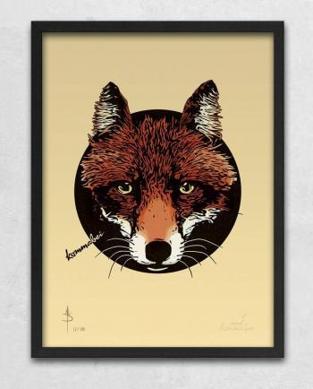Poster Kunstdruck Reineke Fuchs mit Bilderrahmen Schwarz im Kommabei Shop