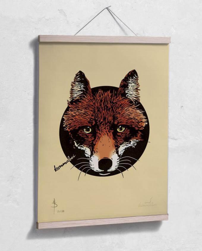 Poster Kunstdruck Reineke Fuchs mit Posterleiste aus Eiche im Kommabei Shop