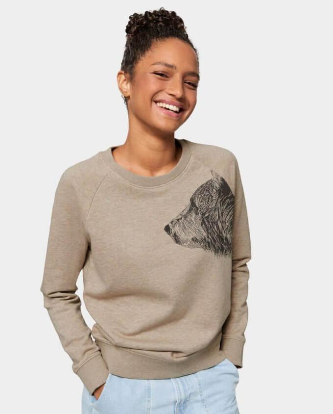 Pullover Damen Sweatshirt Sand Bär von Kommabei