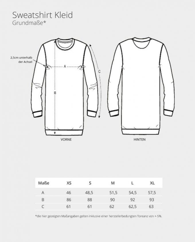 Sweatshirt Kleid Maßtabelle