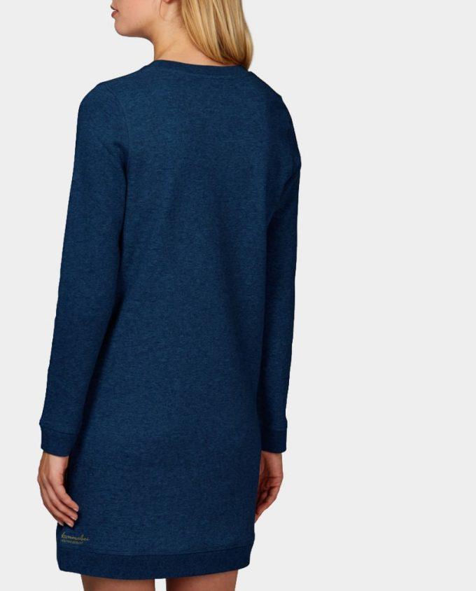 Sweatshirt Kleid Ginko Blau Schwarz Rücken