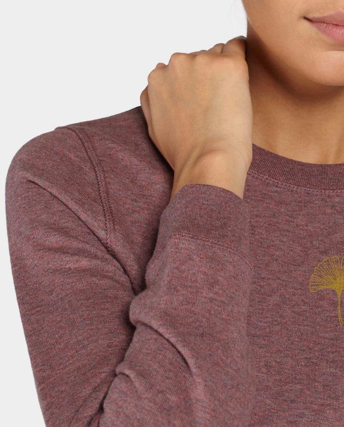 Sweatshirt Kleid Ginko Rot Schwarz Detail Druck