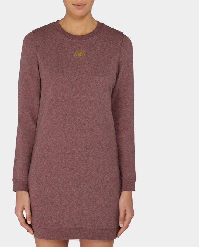 Sweatshirt Kleid Ginko Rot Schwarz